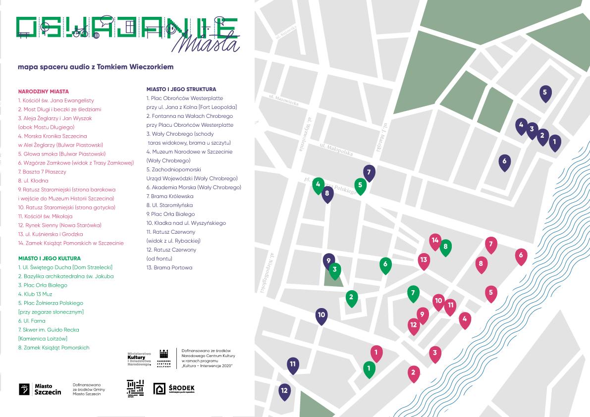 Mapa do trzech spacerów audio z Tomaszem Wieczorkiem