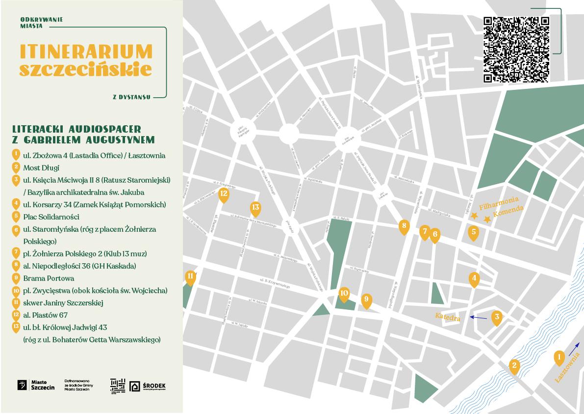 Mapa literackiego audiospaceru po Szczecinie